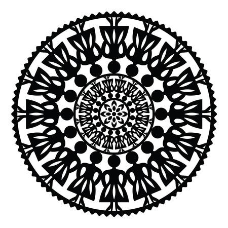 kaszuby: Polish traditional folk pattern in circle with women Illustration