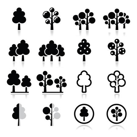 houtsoorten: Bomen, bos, park vector pictogrammen instellen