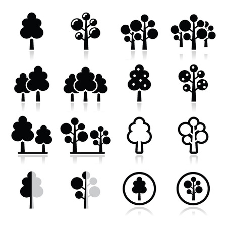 forest park: Trees, forest, park vector icons set