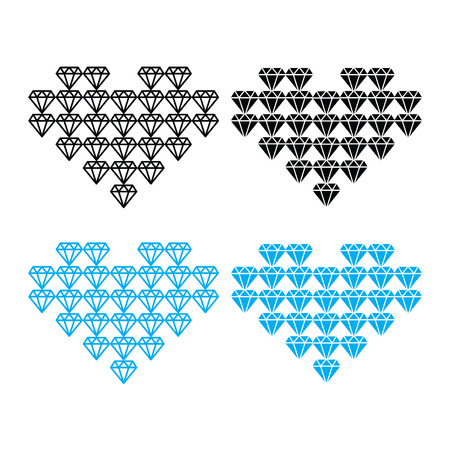 karat: Diamond heart, luxury vector icons set