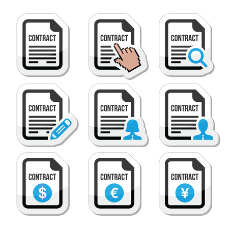 contract signing: Business or work contract signing vector icons set