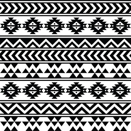 アステカ族の部族のシームレスな黒と白のパターン  イラスト・ベクター素材