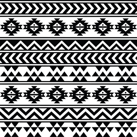 mexican folklore: Aztec tribal seamless black and white pattern Illustration