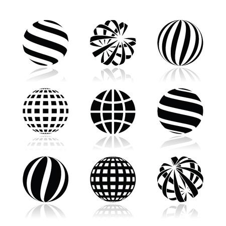 Globe sphere, earth vector icons set Vector