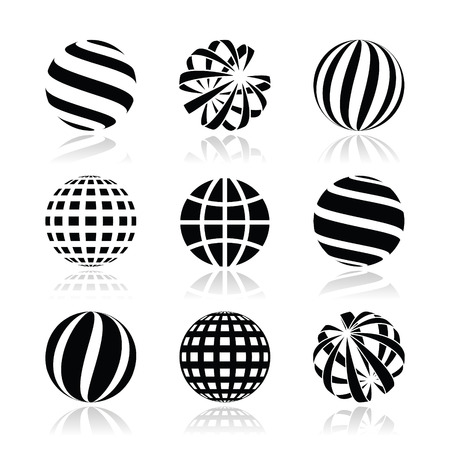 sphere icon: Globe sphere, earth vector icons set