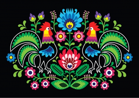 slavic: Polish floral embroidery with cocks - traditional folk pattern