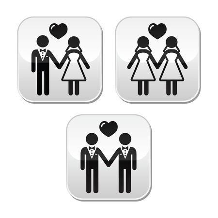 gay: Hochzeit verheiratet hetero und Homosexuell Paar Tasten