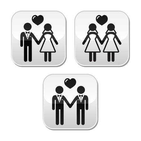 gay couple: Wedding married hetero and gay couple buttons