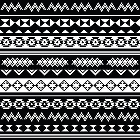 folklore: Aztec tribal seamless black and white pattern Illustration