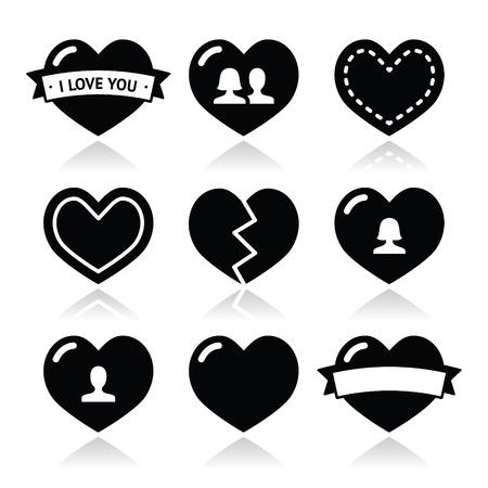 enamorados caricatura: Amor corazones iconos fijados para el Día de San Valentín