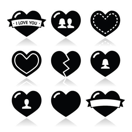 break up: Love hearts icons set for Valentines Day