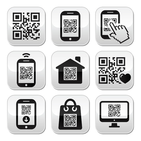 qr: QR code on mobile or cell phone buttons set Illustration