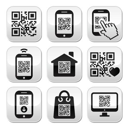smartphone mano: QR code sui pulsanti della telefonia mobile o cellulari set