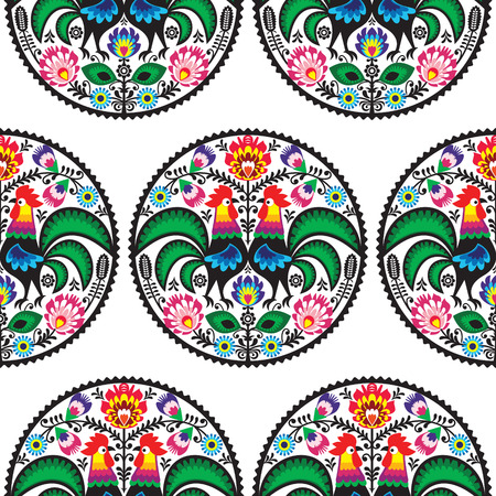 Seamless Polish floral pattern with roosters Vector