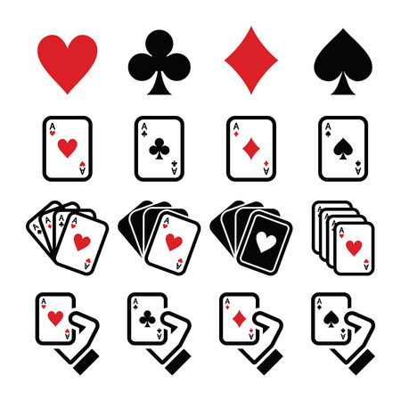 ace of clubs: Playing cards, poker, gambling icons set Illustration