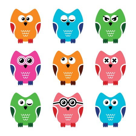 Owl cartoon vector icons set Vector
