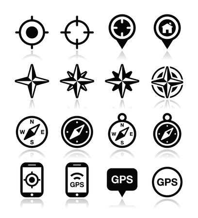 GPS navigation, wind rose, compass icons set Vector