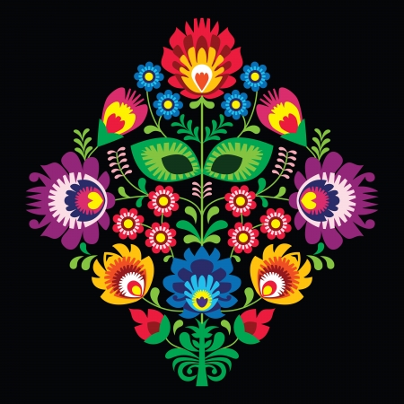 kaszuby: Folk embroidery with flowers - traditional polish pattern on black background
