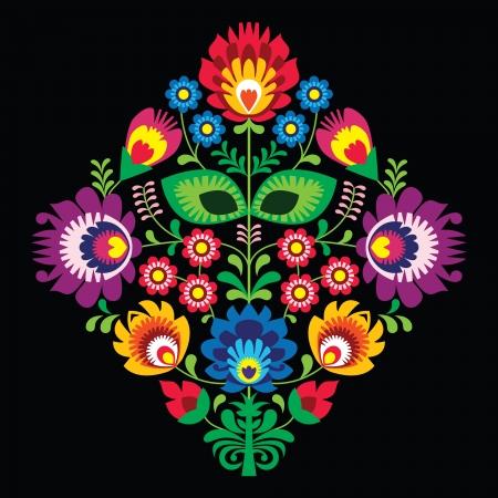 Volksborduurwerk met bloemen - traditionele Poolse patroon op zwarte achtergrond