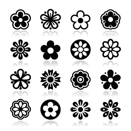Flower head vector icons set Vector