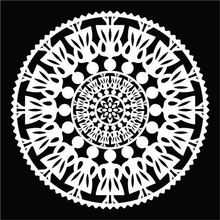 kaszuby: Polish traditional folk pattern in circle with women on black background