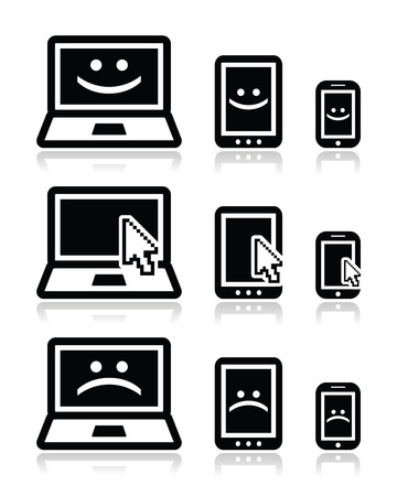 laptop repair: Laptop, tablet and phone with cursor arrow, happy and sad faces