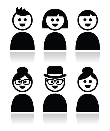 Uživatel, mladí i staří peole ikony nastavit Ilustrace