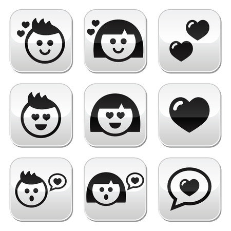 Man and woman in love, Valentine s buttons set Stock Vector - 25148359