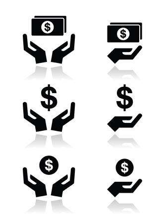 Manos con billete de dólar, los iconos conjunto de vectores de la moneda