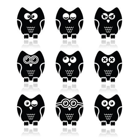 black people: Owl cartoon character vector icons set