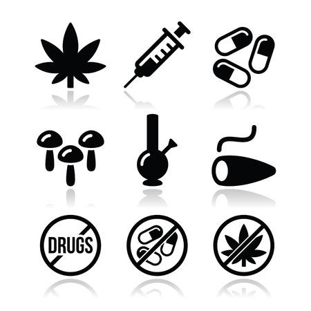 malato: Droghe, dipendenza, la marijuana, icone siringa impostare Vettoriali