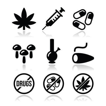 Drugs, addiction, marijuana, syringe icons set Vector