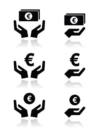 eurpean: Hands with euro banknote, coin vector icons set
