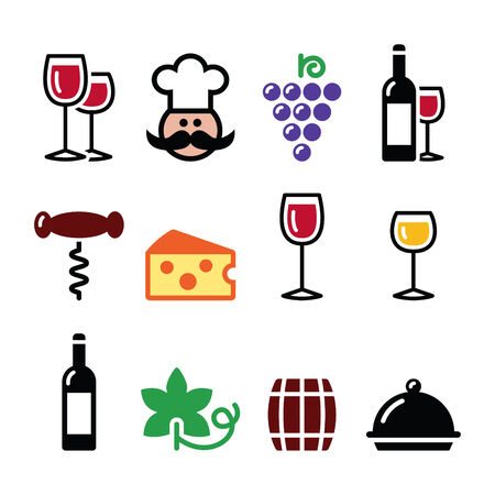 Wine colourful icons set - glass, bottle, restaurant, food Vector