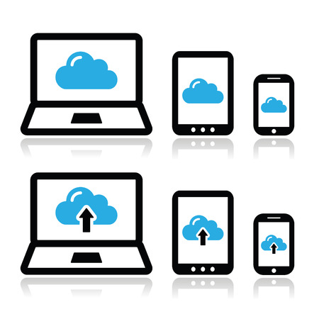 Cloud network on laptop, tablet, smartphone icons set Ilustrace