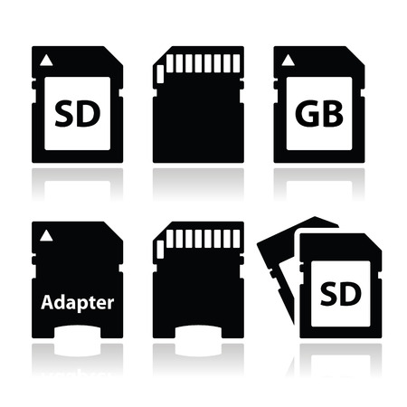 sd: SD, memory card, adapter icons set  Illustration
