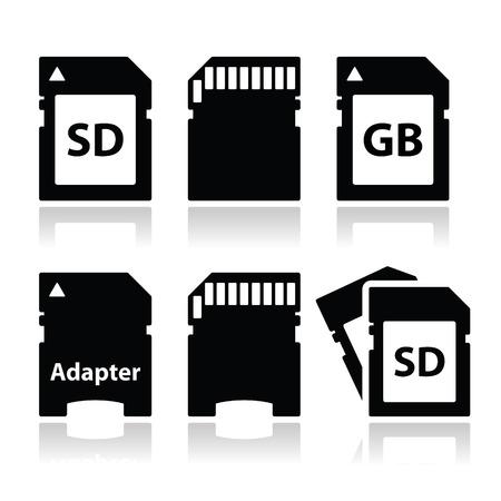 adapt: SD, memory card, adapter icons set  Illustration