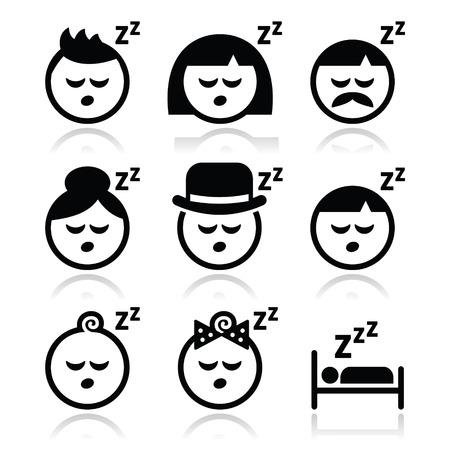 mujer acostada en cama: Dormir, so�ar la gente se enfrenta a iconos conjunto