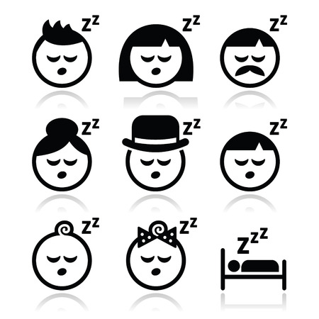 snooze: Sleeping, dreaming people faces icons set