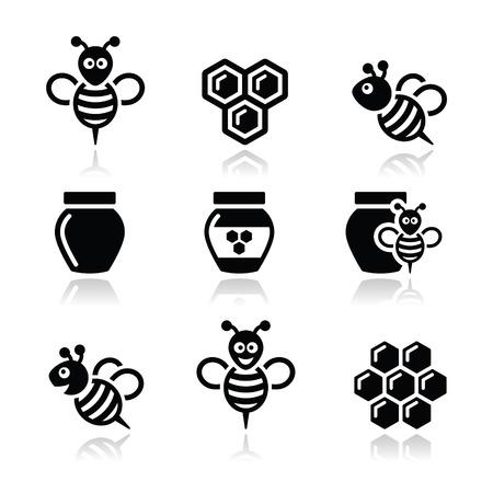 꿀벌과 꿀 벡터 아이콘 설정