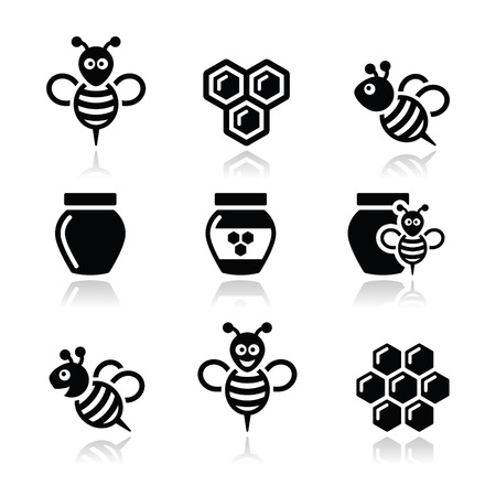 animal cell: Abeja y miel iconos conjunto de vectores