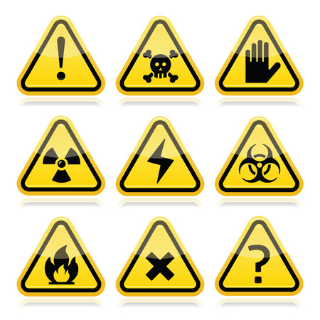 Danger, risk, warning modern traingle signs set Vector