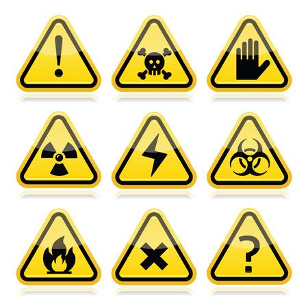 riesgo biologico: Peligro, peligro, señales de advertencia Traingle modernas establece