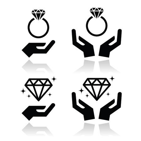 bague de fiancaille: bague de fian�ailles de diamant avec les mains vecteur ic�ne