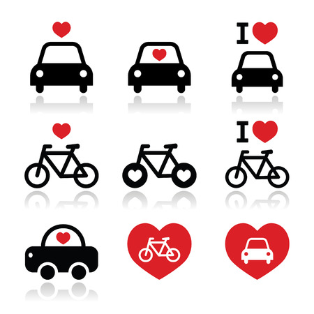 I love cars and bikes icons set Vector