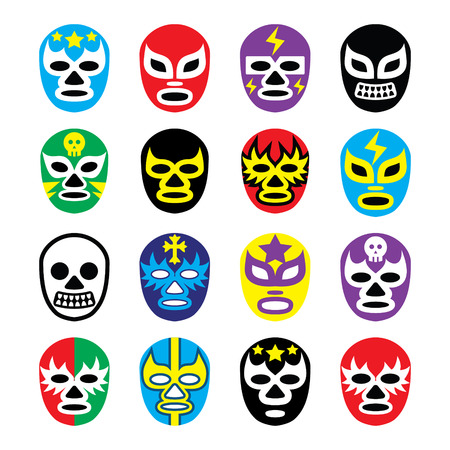 wrestler: Lucha libre mexican wrestling masks icons