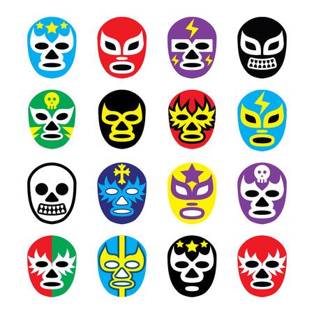 Máscaras de lucha libre lucha libre mexicana iconos Foto de archivo - 25462780