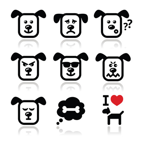 Dog icons set - happy, sad, angry isolated on white Vector