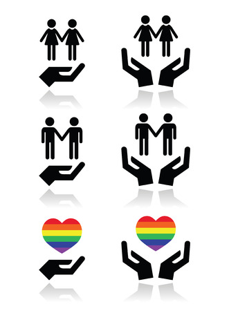 Gay and lesbian couples, rainbow flag with hands icons set Vector