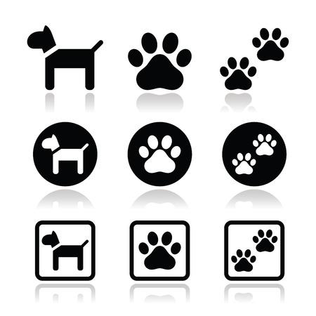 Chien, empreintes de pattes icônes vectorielles définies Illustration